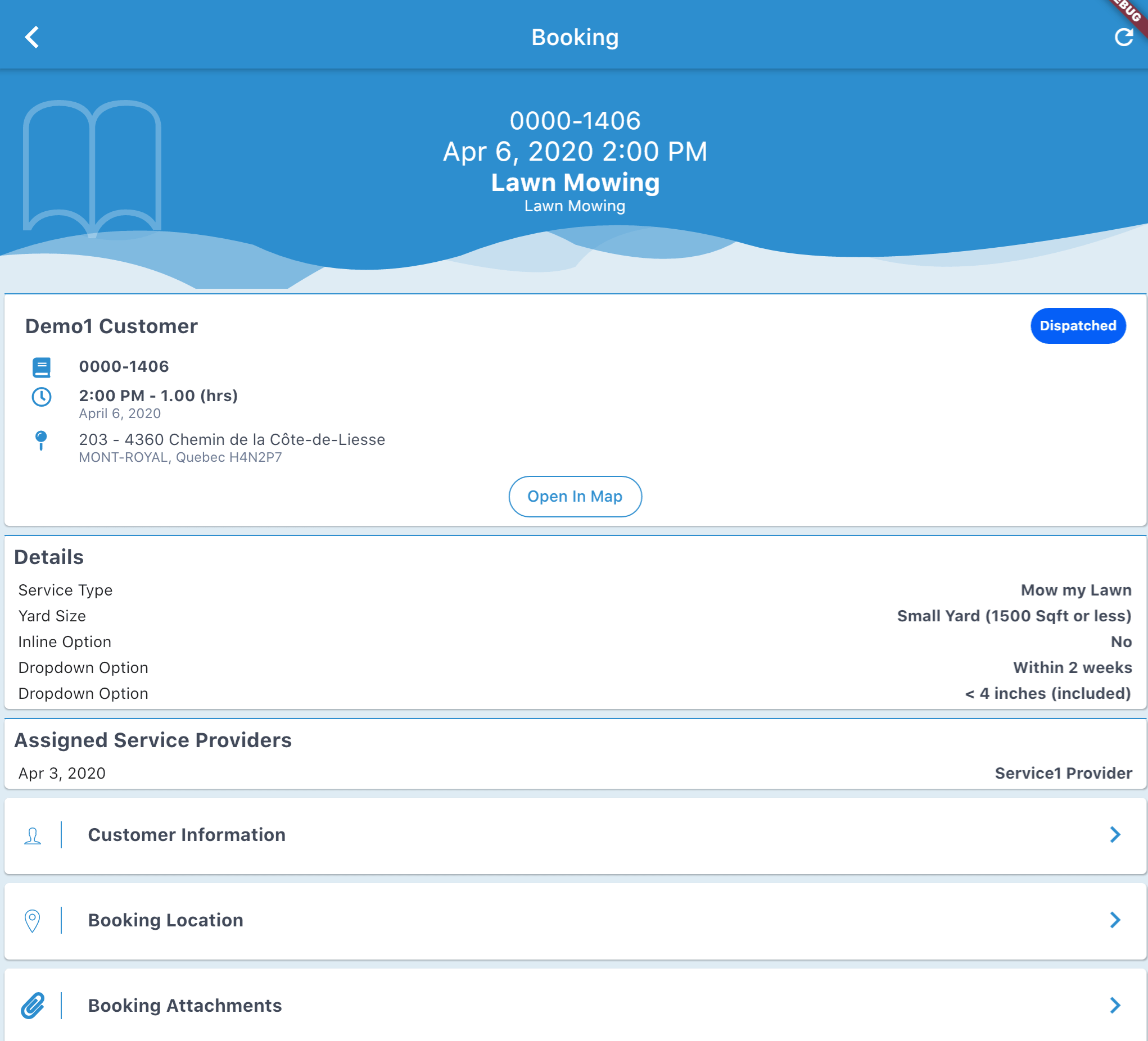 Mobile App - Booking information