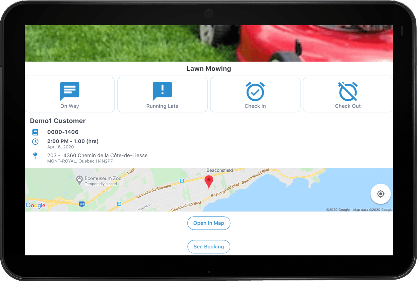 Mobile App - Booking more info (tablet)