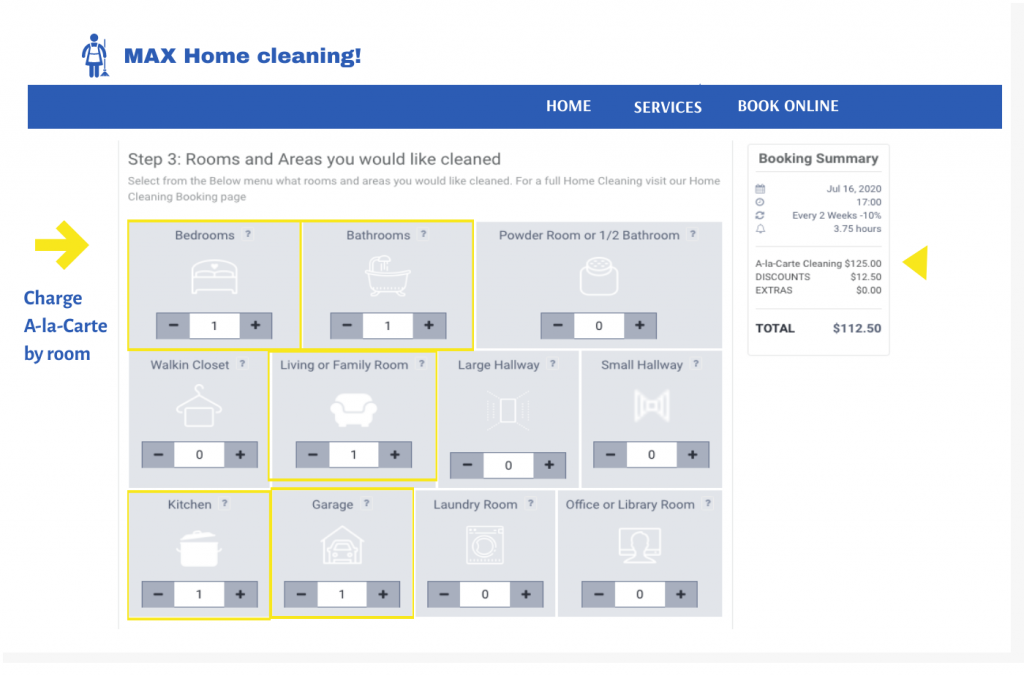 Sell your home cleaning services by Al-a-carte