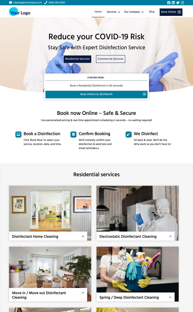 Disinfectant Cleaning Website Themes - PodiumIO